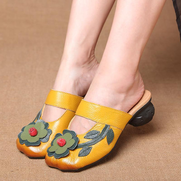 Women's Soft Genuine Leather Mid Heel Mule Sandals Slippers