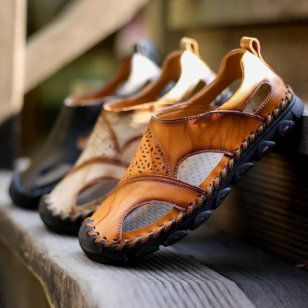 326f6e12f2f12 Flats Sandals Shoes- Men Genuine Leather Hand Stitching Hole Carved ...