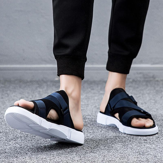 Luck Man New Summer Leather Flat Sandals and Slippers Womens Fashion Thick-Soled Non-Slip Beach Lazy Slippers