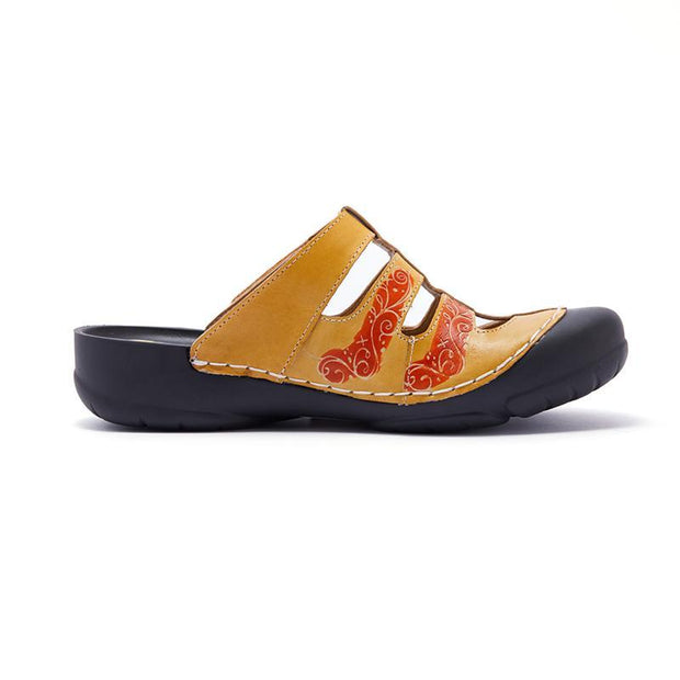 122186 LAURA VITA  MAUBEC  Retro Genuine Leather Handmade PAINTED VELCRO Original Comfortable SANDAL