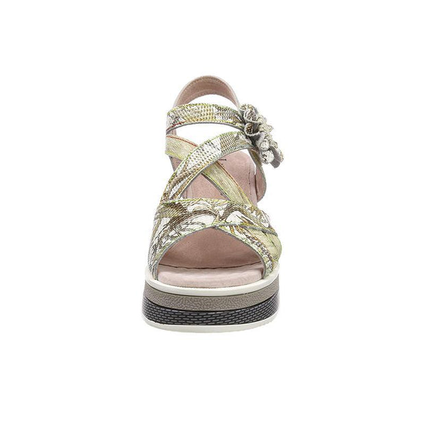LAURA VITA Dacddyo 039 Retro Clover Pattern Hand-colored Genuine Leather VELCRO sandal shoes