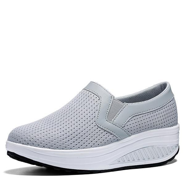 Women's non-slip breathable flying woven mesh rocking shoes casual wedges fashion sneakers 128190