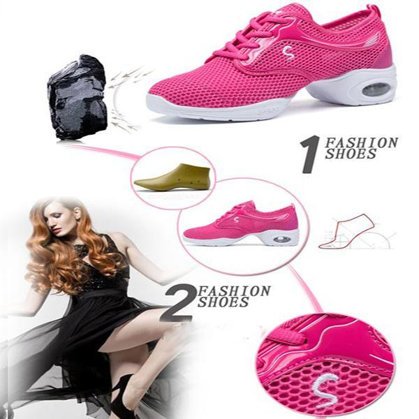 Womens Mesh Ballroom Dance Sneakers Lightweight Comfortable Jazz Shoes  127336