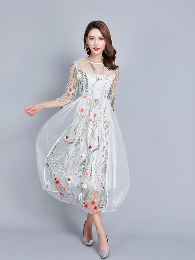 128692 Women Fashion Lace Party Dress Formal Occassion Dress Lace 3/4 Sleeve Dress