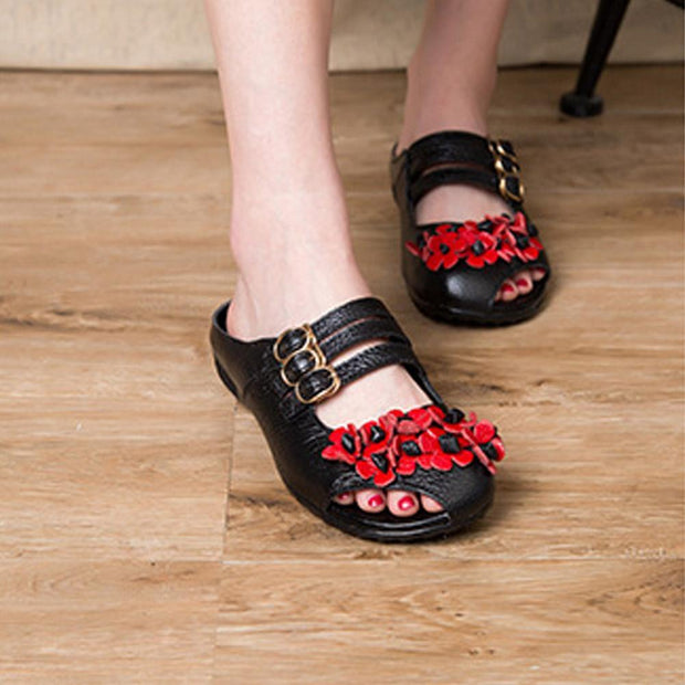 Women's Shoes National Style Cool Drag Leather Hollow Casual Buckle Sandals 131095