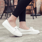 Women's leather Korean fashion casual tie flat white shoes 128232