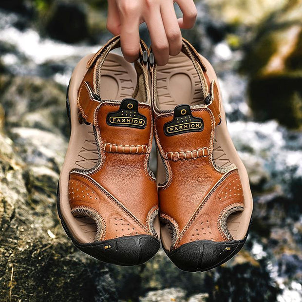 Men Leather Sandals Baotou Beach Shoes Outdoor Breathable Casual Sandal Shoes