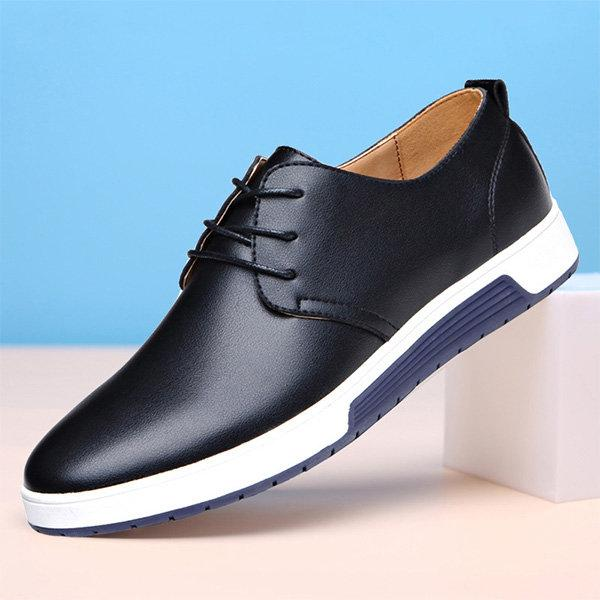 Men British Style Pure Color Leather Soft Casual Driving Shoes 133329