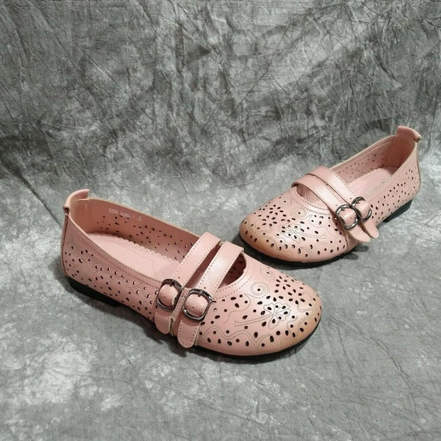 Summer leather soft bottom hollow retro shoes literary casual female round head sandals flat bottom 133366