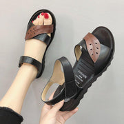 Soft skin mother sandals female summer flat middle-aged mother shoes new low-heeled middle-aged 133760
