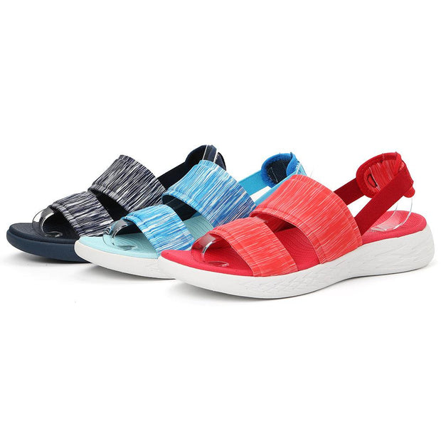 Women Elastic Band Peep Toe Athletic Sole Slip On Lightweight Flat Sandals 134536