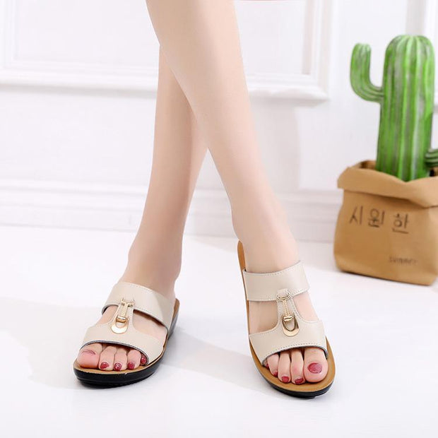Women's Shoes, Flat Slip, Mother's Sandals And Slippers 134158