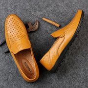 Men's Breathable Casual Shoes Peas Shoes Hollow Leather Shoes 134590