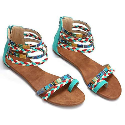 135106 Women, Summer Sandals Gladiator Dress Sandals Ankle Slippers Woven Straps Flip Flop Thong Bohemia