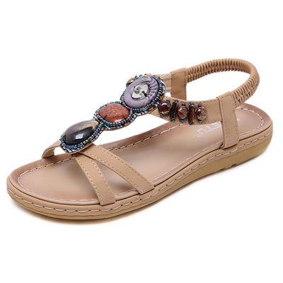 135496 Women Summer Sandals Casual Bohemian Gem  Beaded Clip Toe Flip Flops Ankle Walking
