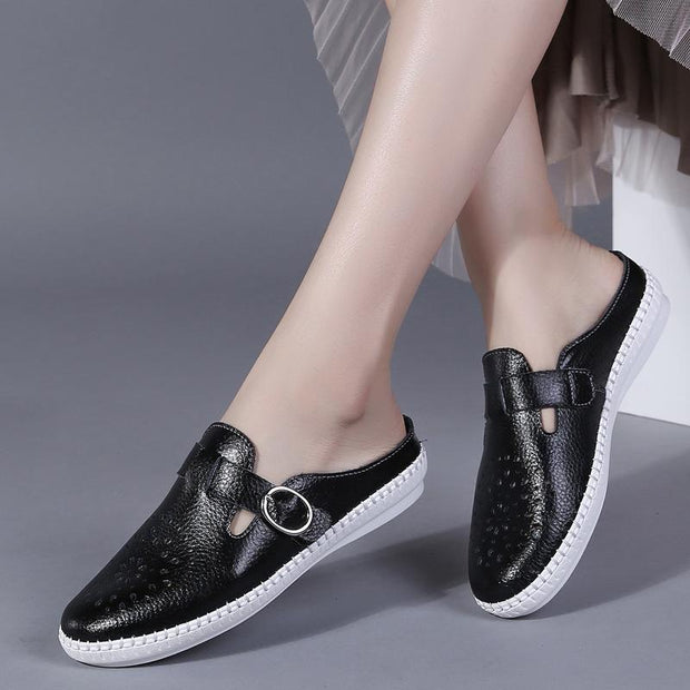 Women's Leather Loafers Breathable Slip on Driving Shoes Casual Comfort Walking Flat Mules