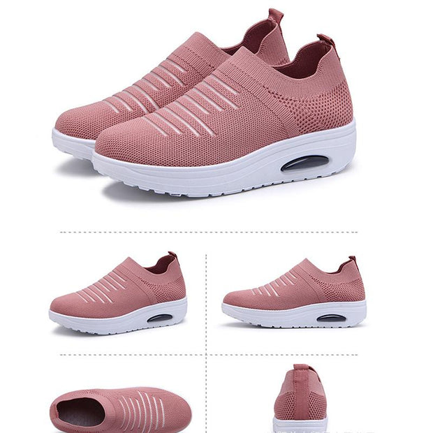 Women's new rocking shoes stretch flying woven shoes
