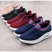 Women Mesh Lace Up Casual Platform Cushioned Shoes