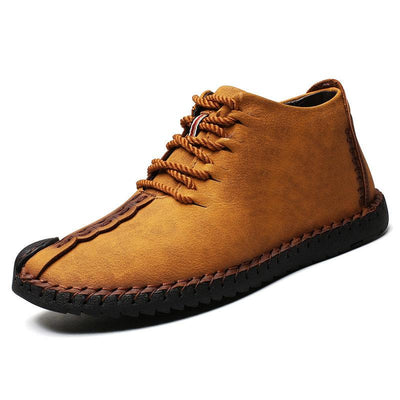 Large Size Men Hand Stitching Leather Non-slip Soft Sole Warm Casual Boots
