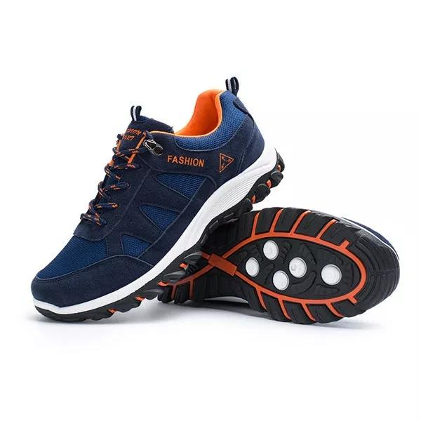 Men's Suede Plush Mesh Breathable Outdoor Lace Up Running Athletic Shoes