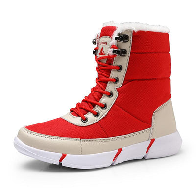 137559 Women's  new plus velvet high to help fashion warm waterproof couple snow boots cotton shoes