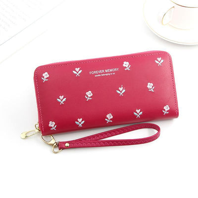 Women's  Fashion Long Zipper Large Capacity Small Flowers Clutch Bag