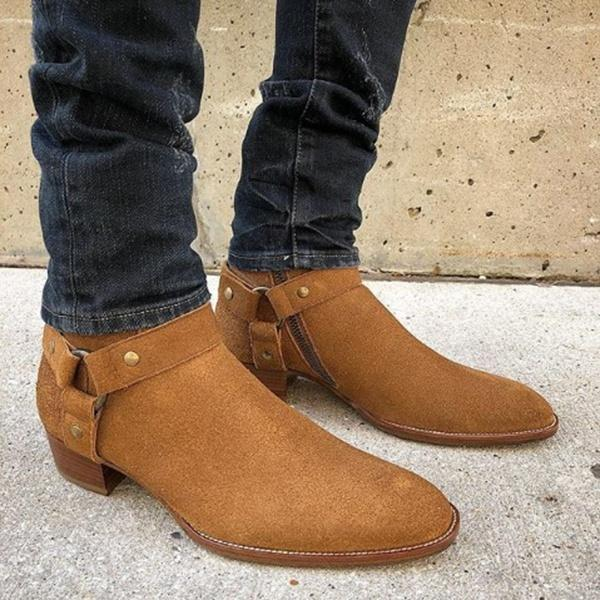 Men  Fashion Suede Leather Round Toe Western Ankle Boots