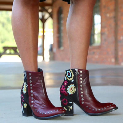 Women's rivet thick with fashion floral zipper ankle boots