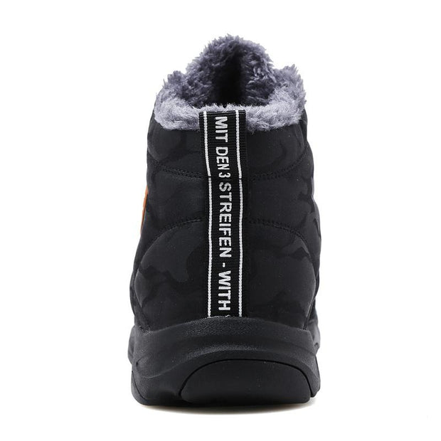 Men Trekking Snow Boots Water Resistant Shoes Anti-Slip Fully Fur Lined Casual Lightweight Hiking Boots