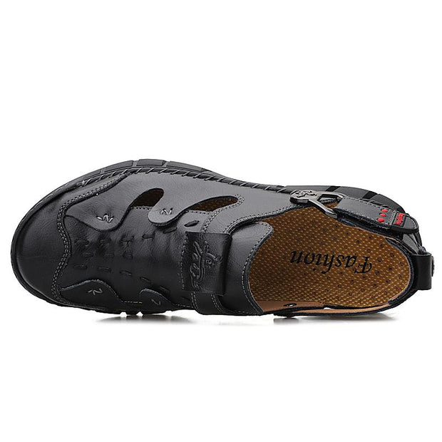 Men's plus size sports shoes handmade  leather outdoor sandals
