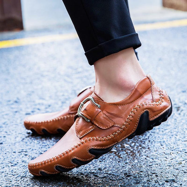Men breathable loafers portable sewing leather shoes