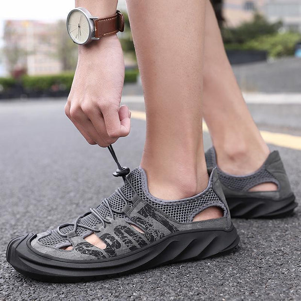 Men's comfortable breathable loafers hollow out beach sandals