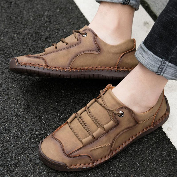 Men's shoes Hand Stitching Microfiber Leather Special Pattern Soft Casual Shoes