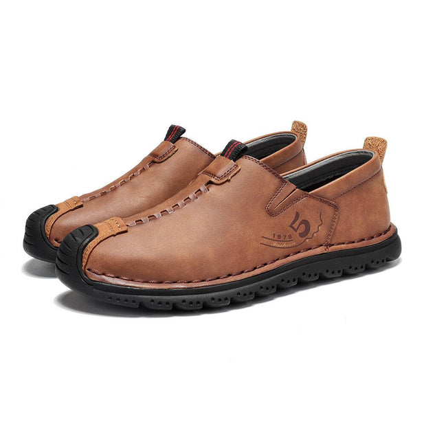 Men's Hand-stitched  Rubber Toe Cap Slip On Soft Leather Loafers