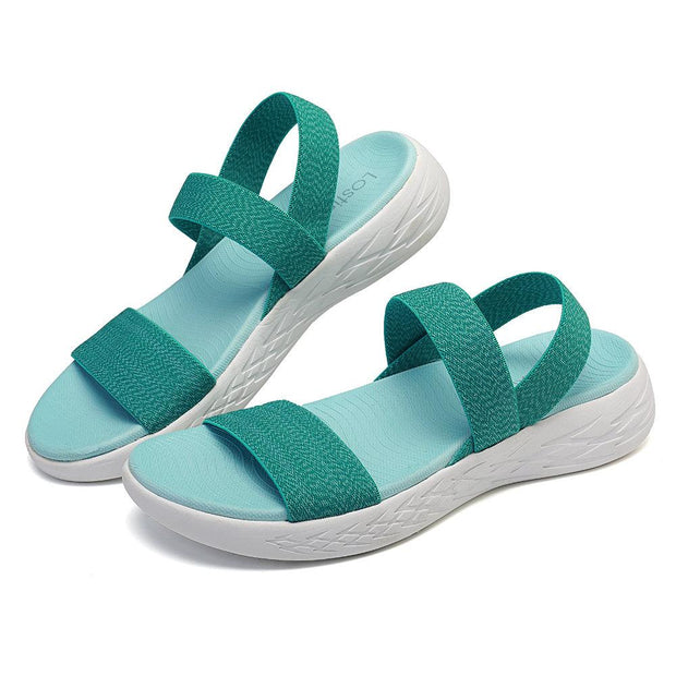Women Elastic Band Comfortable Athletic Sole Flat Casual Beach Sandals 134532