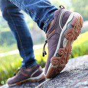Men Leather Outdoor Slip Resistant Hiking Shoes Lace Up Casual Sneakers