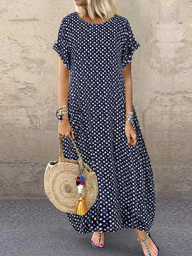 Women's Summer Polka Dot Print Short Sleeve Plus Size Dress