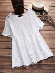 Women's Laced Hollow Embroidered Short Sleeve Vintage Blouses