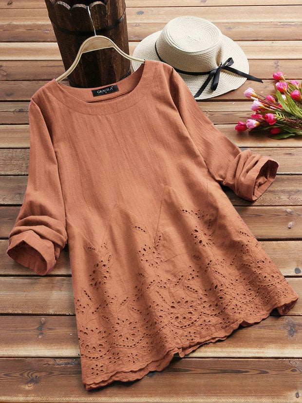 Women's Hollow Long Sleeve Embroidered O-neck Vintage Blouse