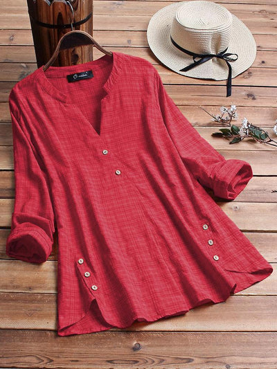 Women's loose plus size comfortable irregular hem button shirt