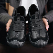 Men's Stylish Color Blocking Comfy Leather Soft Lace Up Casual Shoes