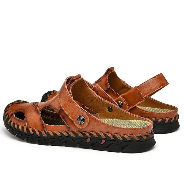 Men's Large Size Hand Stithcing Outdoor Soft Non-slip Soft Leather Sandals