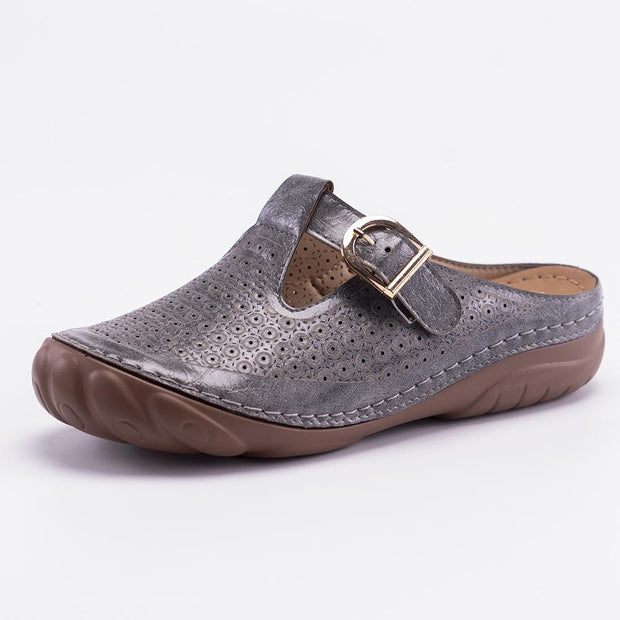 Women Round Toe Leather Slip on Slipper Wedge Mule Sandals Clog