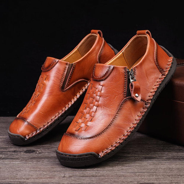 Men Woven Style Hand Stitching Non Slip Casual Leather Shoes