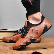 Men Leather Splicing Non Slip Elastic Lace Soft Sole Casual Driving Shoes