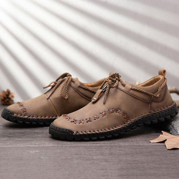 Men Hand Stitching Leather Non Slip Soft Sole Casual Shoes