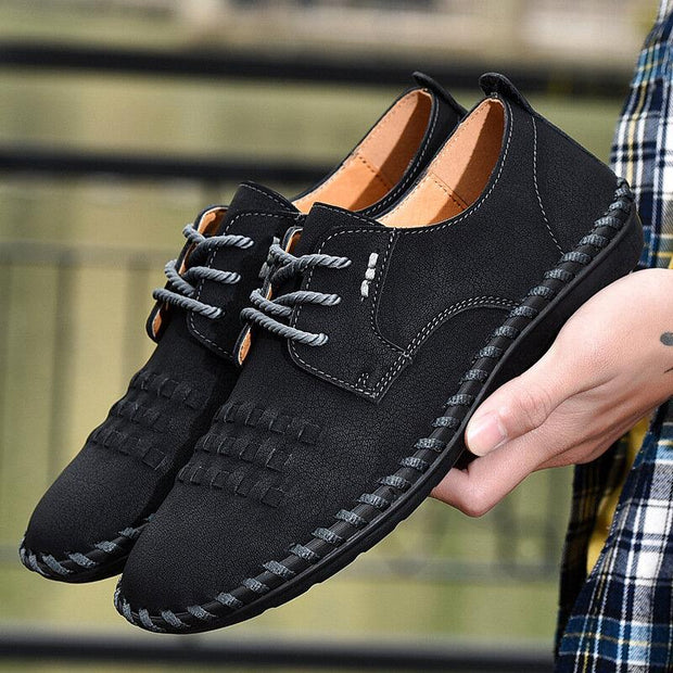 Men Vintage Hand Stitching Microfiber Leather Soft Non Slip Casual Shoes