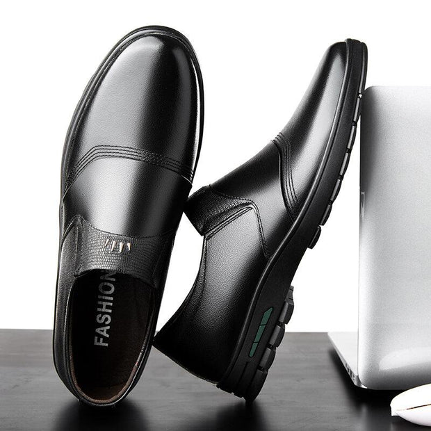 Men Genuine Leather Slip Resistant Slip On Soft Sole Casual Flats