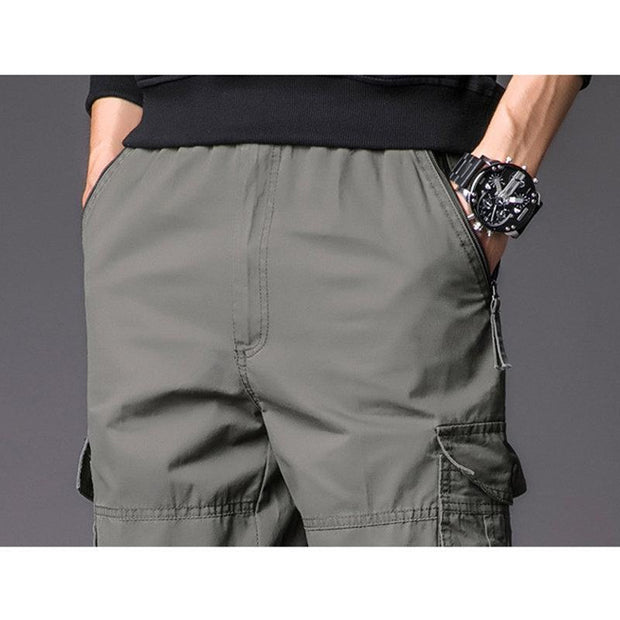 Mens 100%Cotton Breathable Casual Multi-pocket Solid Color Military Cargo Pants