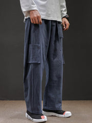 Mens Chinese Style Linen Blends Vintage Multi Pockets Plain Wide Leg Pants